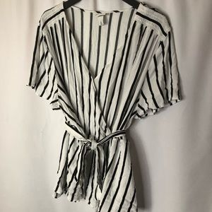 Plus Size Vertical Striped Faux Wrap Top